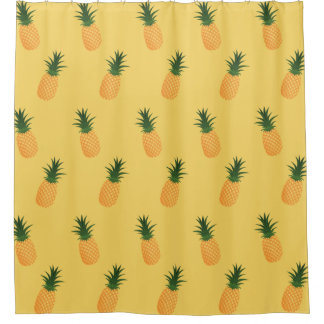 stylish yellow tropical citrus hawaiian pineapples shower curtain