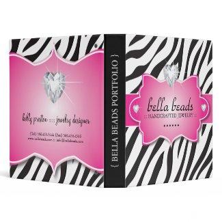 Stylish Zebra Jewelry Designer Portfolio Binder binder