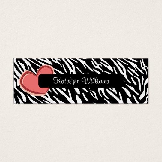 Stylish Zebra Print Heart Appointment Card