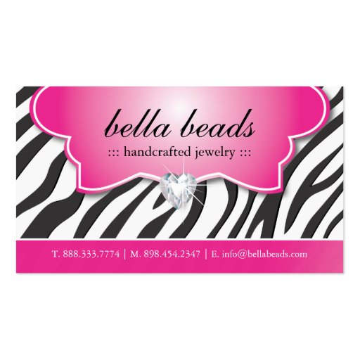 Stylish Zebra Print Jeweller Business Cards