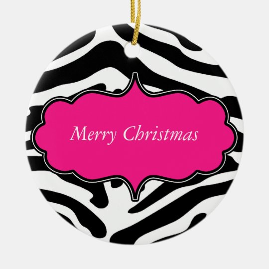 "Stylish Zebra Print ""Merry Christmas"" Ornament"