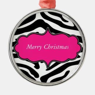 "Stylish Zebra Print ""Merry Christmas"" Ornament"