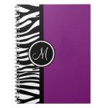 Stylish Zebra Print Purple Monogram Notebook