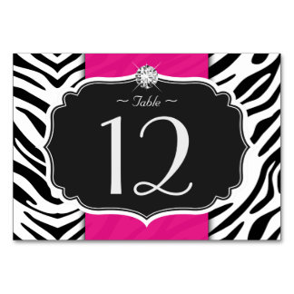 Stylish Zebra Print Wedding Table Number Card