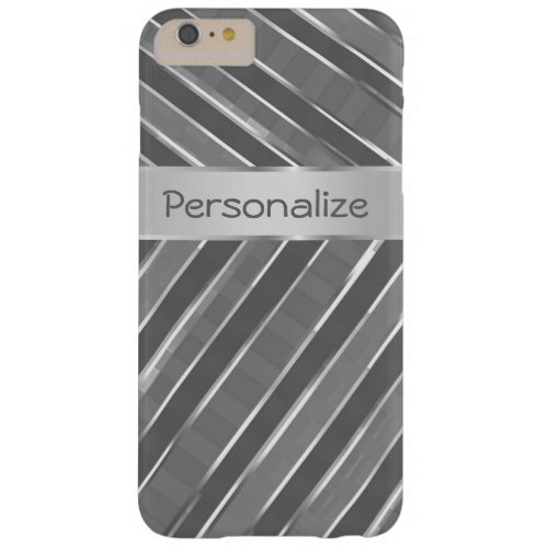 Stylish Zigzag Silver Stripes Personalized Barely There iPhone 6 Plus Case