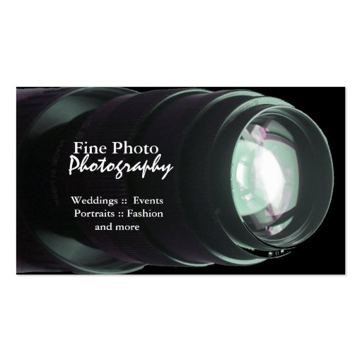 Stylish Zoom Lens Photographer Business Cards