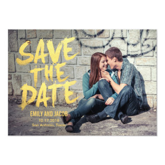 Stylishly Brushed Photo Save The Date Card