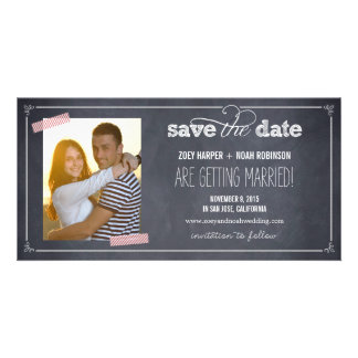 Stylishly Chalked 1 Photo Save The Date Cards