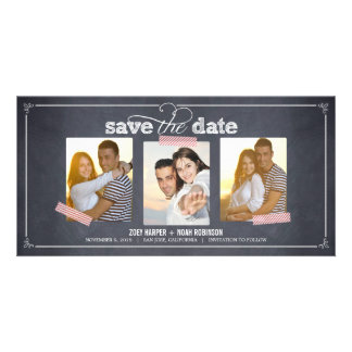 Stylishly Chalked 3 Photos Save The Date Cards