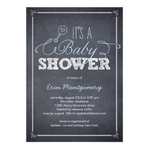 Stylishly Chalked Baby Shower Invitations - Blue Invitations