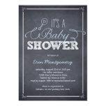 "Stylishly Chalked Baby Shower Invitations - Blue 5"" X 7"" Invitation Card"