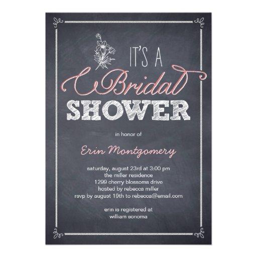 Stylishly Chalked Bridal Shower Invitations