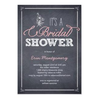 "Stylishly Chalked Bridal Shower Invitations 5"" X 7"" Invitation Card"