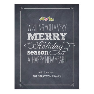Stylishly Chalked Holiday Card Postcard