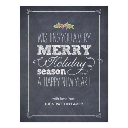 Stylishly Chalked Holiday Card Postcard