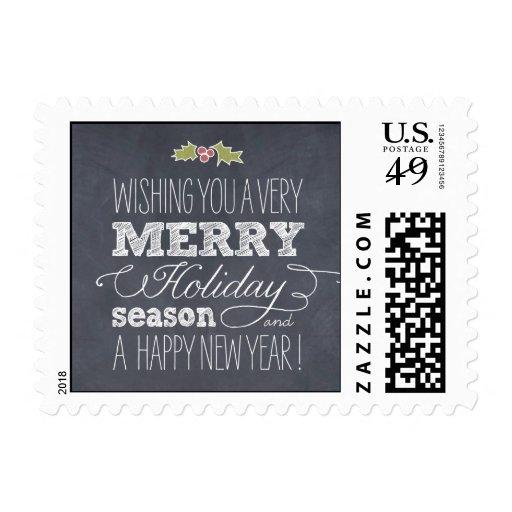 Stylishly Chalked Holiday / Christmas Postage Postage Stamp
