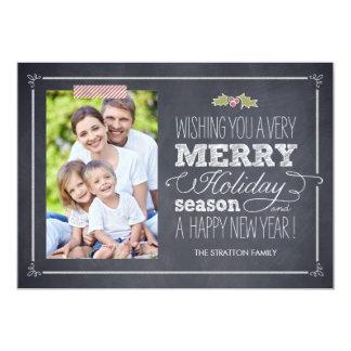 """Stylishly Chalked Holiday Photo Cards 5"""" X 7"""" Invitation Card"""