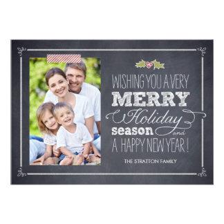 Stylishly Chalked Holiday Photo Cards Personalized Invitation