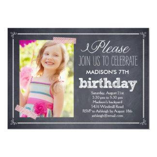 """Stylishly Chalked Photo Birthday Invitation 5"""" X 7"""" Invitation Card"""