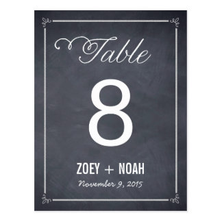 Stylishly Chalked Table Number Card Post Card