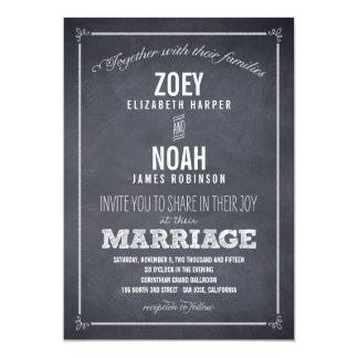 "Stylishly Chalked Wedding Invitations 5"" X 7"" Invitation Card"