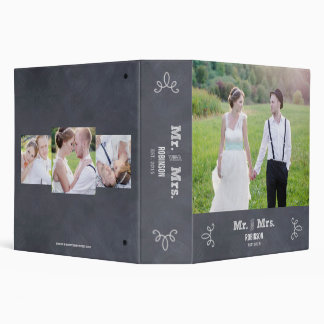Stylishly Chalked Wedding Photo Album 3 Ring Binder