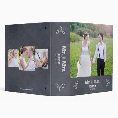 Stylishly Chalked Wedding Photo Album 3 Ring Binder