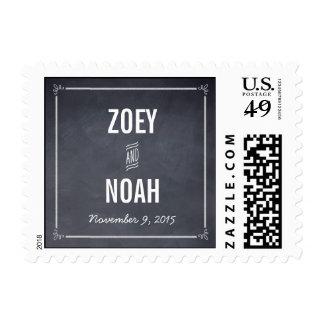 Stylishly Chalked Wedding Postage Stamp
