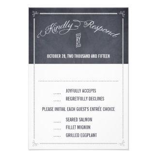 Stylishly Chalked Wedding Response RSVP Cards Personalized Invitations
