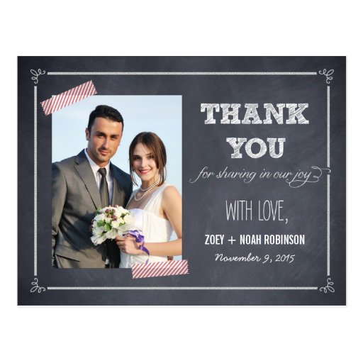 Discount Deals Stylishly Chalked Wedding Thank You Card Post Cards – Buy Wedding Thank You Cards