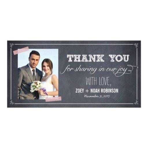Stylishly Chalked Wedding Thank You Photo Cards Customized Photo Card