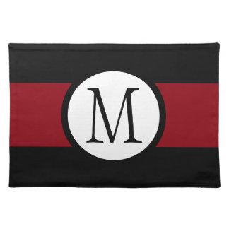 Stylishly Elegant Black, White & Red Line Monogram Cloth Placemat