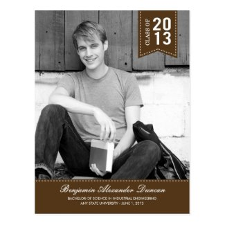 Stylishly Stitched Graduation Announcement /Invite Post Card