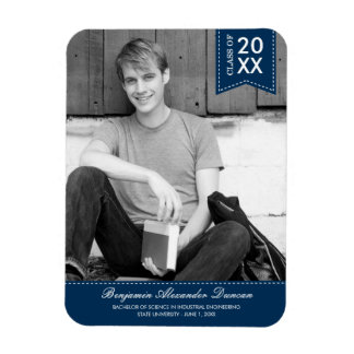 Stylishly Stitched Graduation Announcement Magnet