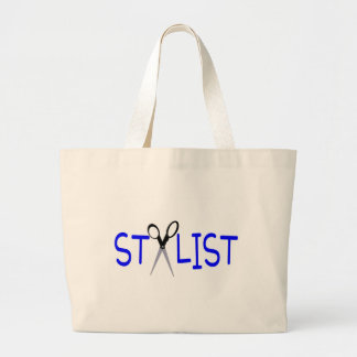 Stylist Blue with Scissors Large Tote Bag