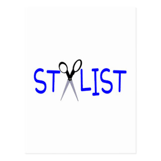 Stylist Blue with Scissors Postcard