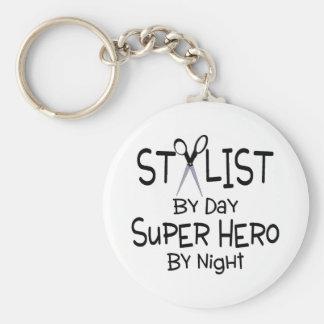 Stylist By Day Super Hero By Night Basic Round Button Keychain