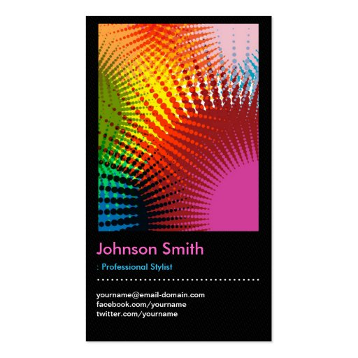 Stylist - Colorful Rainbow Abstract Pattern Business Card (front side)