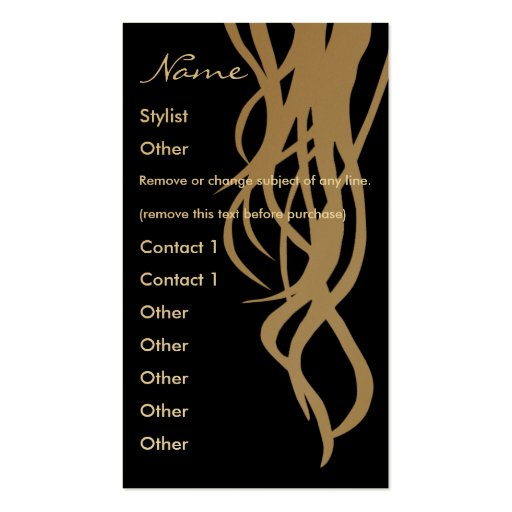 Stylist Gold Business Card - vertical