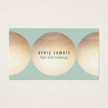 Stylist Gold Circle Light Turquoise Beauty Salon Business Card