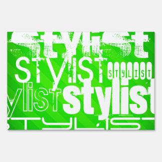 Stylist; Neon Green Stripes Yard Sign