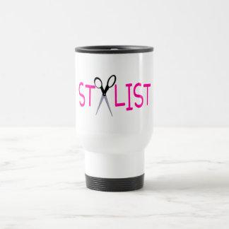 Stylist Pink with Scissors Travel Mug
