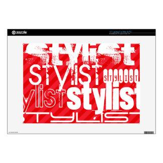 Stylist; Scarlet Red Stripes Laptop Skin