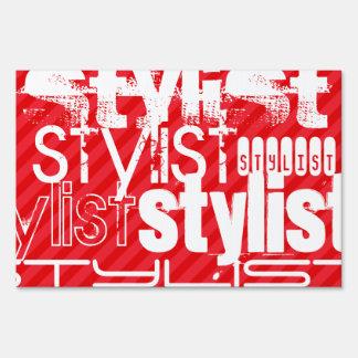 Stylist; Scarlet Red Stripes Yard Sign