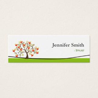 Stylist - Swirl Whimsical Tree Icon Mini Business Card