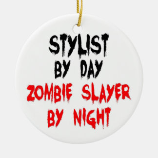 Stylist Zombie Slayer Double-Sided Ceramic Round Christmas Ornament