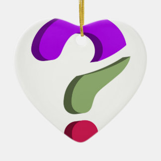 Stylized 3d question mark Double-Sided heart ceramic christmas ornament