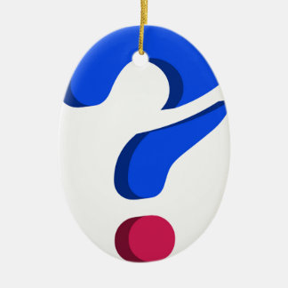 Stylized 3d question mark Double-Sided oval ceramic christmas ornament