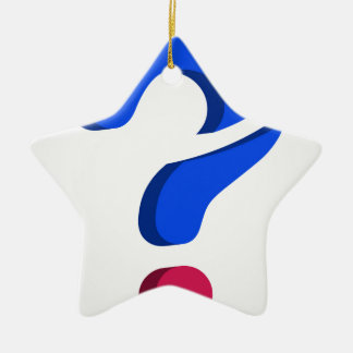 Stylized 3d question mark Double-Sided star ceramic christmas ornament