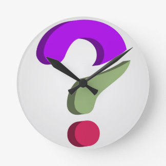 Stylized 3d question mark round clock